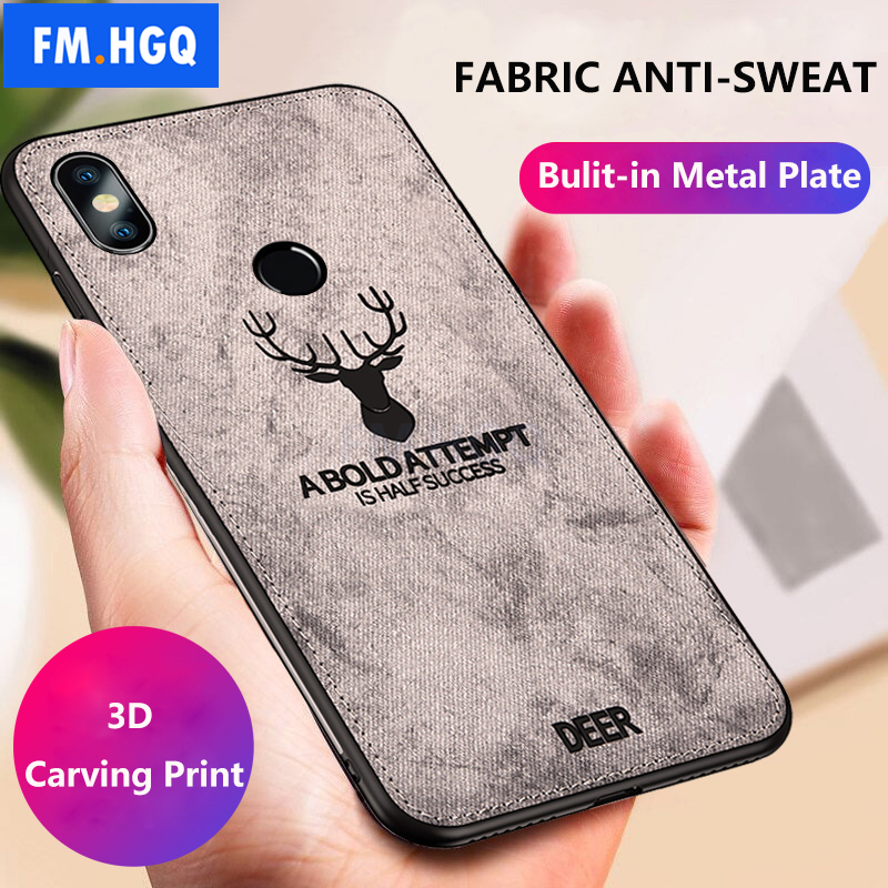 Hot Cloth Texture Deer 3D Soft TPU Magnetic Car Case For Xiaomi Mix 3 Built-in Magnet Plate Case For Xiaomi MiX 3 Cover