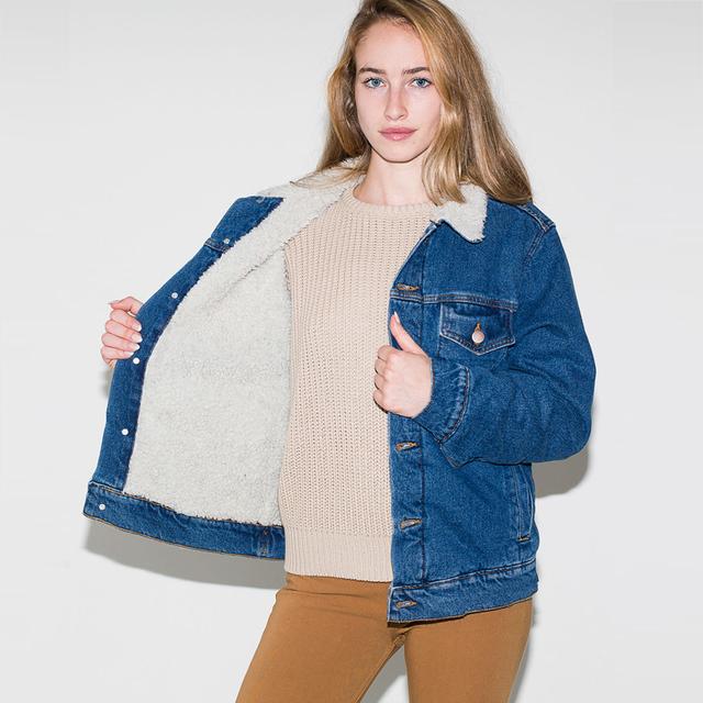 Americano vestuário das Mulheres Unisex Denim Sherpa Interior Forro de Jaquetas de Brim Pesado Acolchoado Casacos 4 tamanhos