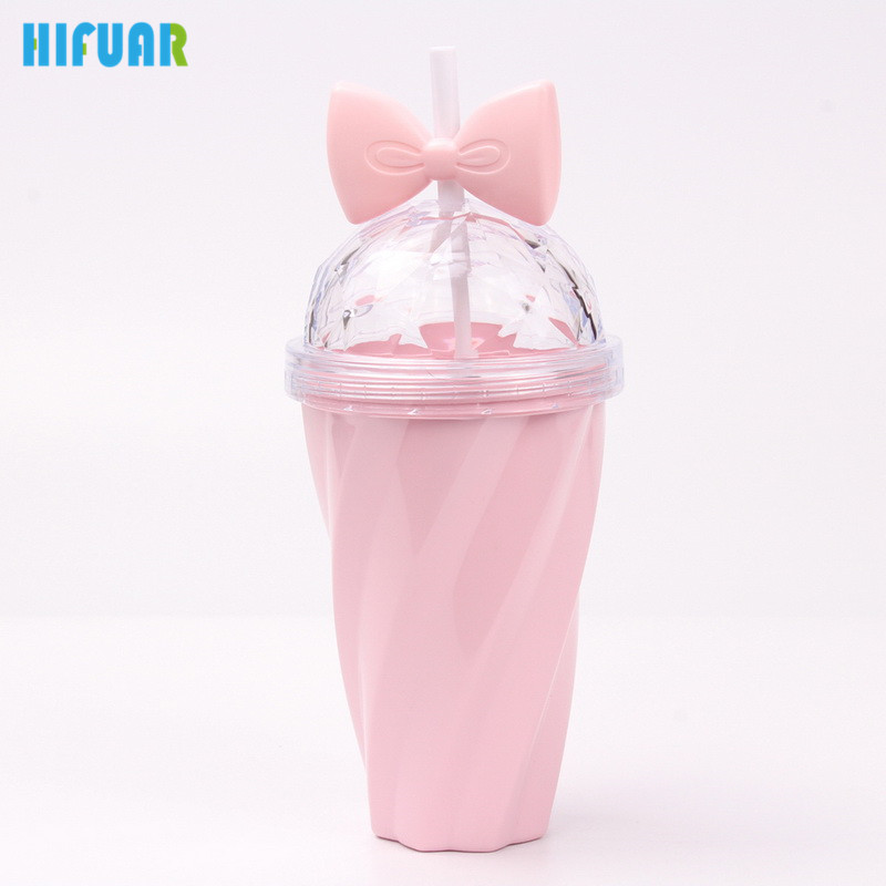 HIFUAR 400ml Plastic Straw Water Bottle Lid Bow Twisted Shaped Drinking Camping Sports Bottles Candy Color Children 9.5*5.5*20cm