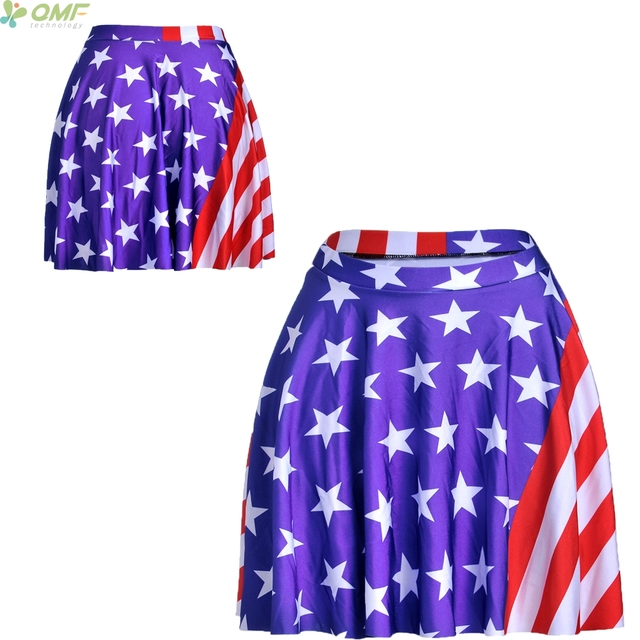 American Flag Print A Line Faldas Fashion Short Skirt Pleated Casual Mini Saia Stars