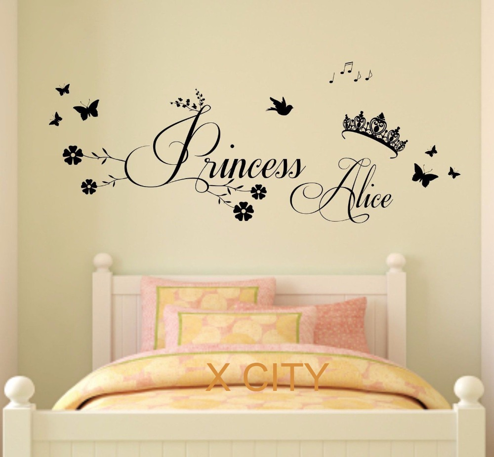 Princess crown personalised name children girl bedroom wall art princess crown personalised name children girl bedroom wall art sticker removable vinyl transfer decal home decoration s m l in wall stickers from home amipublicfo Choice Image