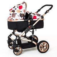 2016 New design foldable aluminum Luxury baby stroller, stroller carry bag, 8 colour four wheels single seat