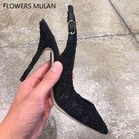 Siyah Çiçek Dantel Üst Yüksek Topuklar Ayakkabı Kadın Zarif Sivri Burun Arkası Açık Iskarpin Moda Lady Yüksek Topuklar Stilettos Kız Ayakkabı