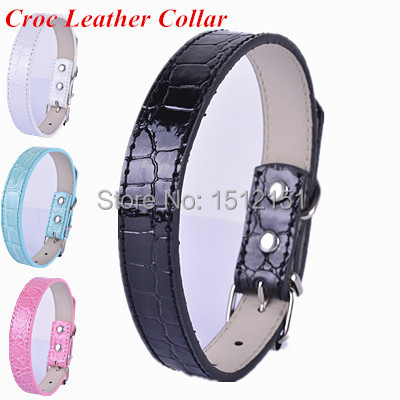 Fashion Croc  Leather Dog Collar  Small Dogs Pet Products 4 Colors Collars
