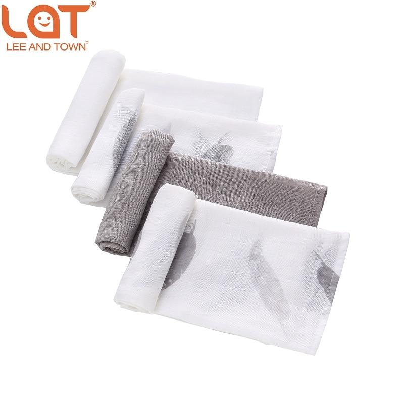 LAT 4pc/box Baby Boy Girls Newborns Cotton Muslin Square Washable Premium Reusable Nappy Diapers Wipes Bath Cloth Towel Blanket