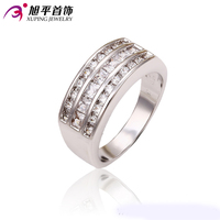 Xuping Fashion Ring Hot Sale Engagement Ring With Rhodium Color Synthetic CZ Brand Big Promise Rings