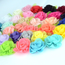 Nishine 120pcs/lot Leaf Chiffon Flowers Rosette Rose Flower Kids Girls Hair Accessory Artificial Bouquet Decor