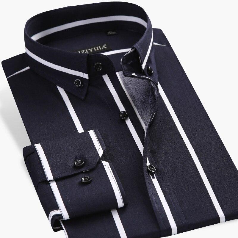Men's Contrast Black/white Wide Striped Dress Shirts Comfortable Cotton Smart Casual Slim Fit Long Sleeve Button Down Shirt