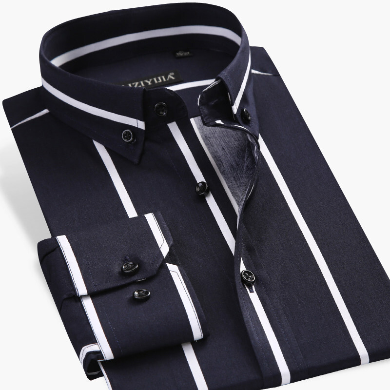 Men's Contrast Black/white Wide Striped Dress Shirts Comfortable Cotton Smart Casual Slim Fit Long Sleeve Button Down Shirt