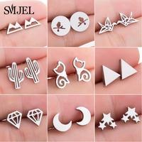 SMJEL mode mignon Animal boucles d'oreilles pour femmes enfants en acier inoxydable bijoux chat lune étoile boucles d'oreilles bijoux accessoires cadeaux