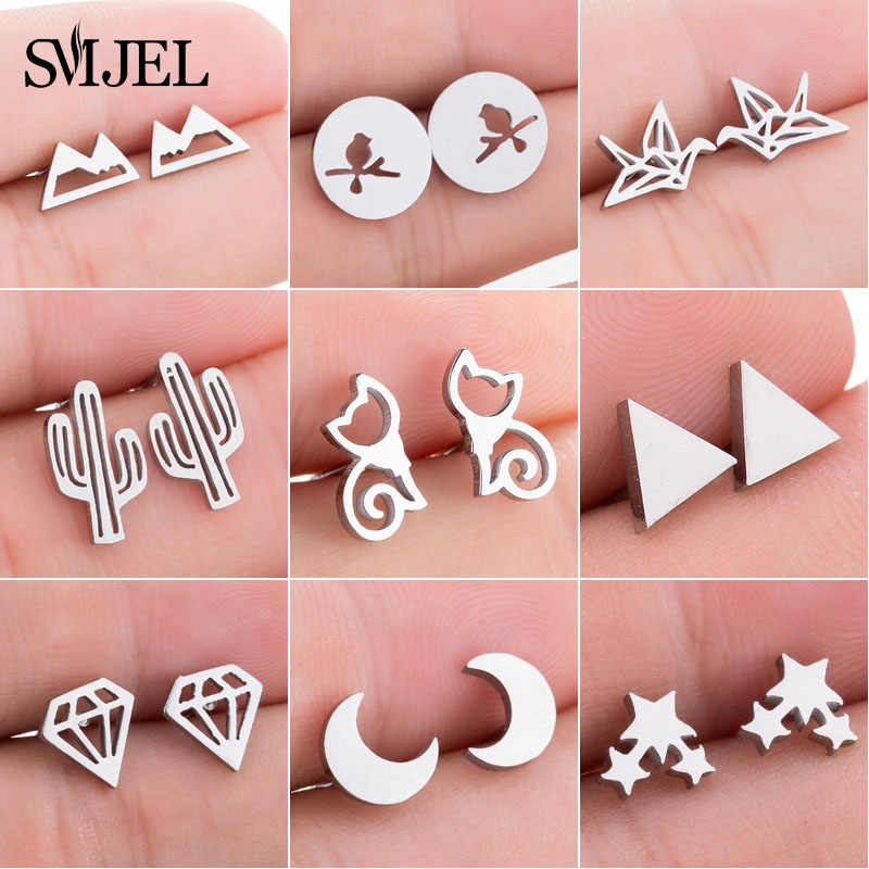 SMJEL Fashion Cute Animal Stud Earrings for Women Kids Stainless Steel Jewelry Cat Moon Star Earings Jewelry Accessories Gifts
