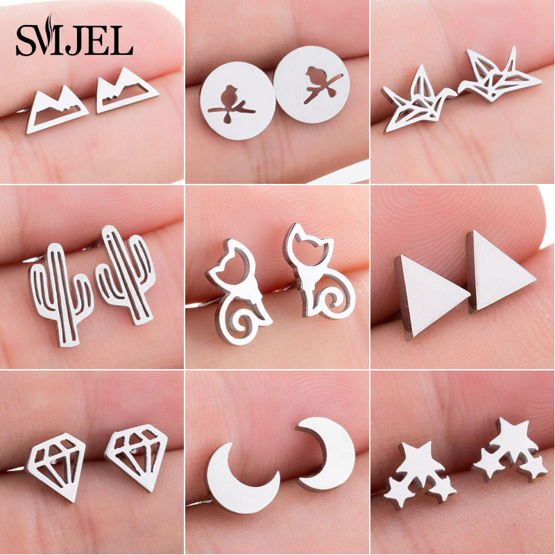SMJEL Fashion Cute Animal Stud Earrings for Women Kids Stainless Steel Jewelry Cat Moon Star Earings Jewelry Accessories Gifts(China)
