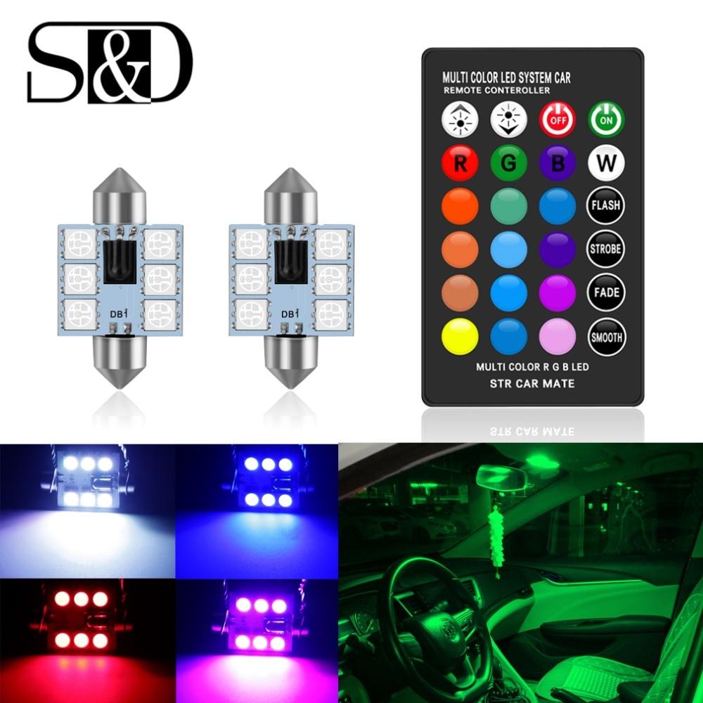 Светодиодный фонарь C5W 31 мм 36 мм 39 мм 41 мм C10W RGB 5050 6SMD с пультом дистанционного управления, лампа для чтения Inteiror, лампа для двери, 12 В