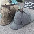 Alta calidad cosplay cap gorra de cazador sherlock holmes detective cups gris nuevo boinas cap vestidos