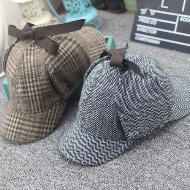Hats High-Quality-Cosplay-Cap-Detective-Sherlock-Holmes-Deerstalker-Hat-Gray-Cups-New-Berets-Cap-Vestidos.jpg_640x640