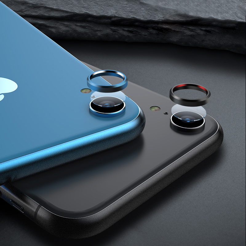 Back Camera Lens Screen Protector for iPhone XR 6D Tempered Glass Film + Metal Rear Lens Protection Ring Case Cover Accessories