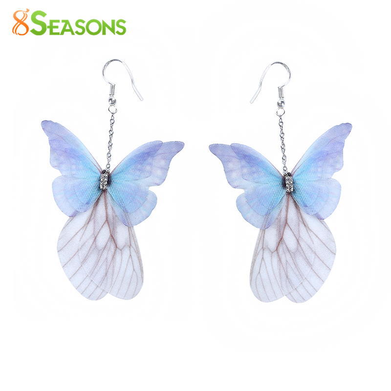 8 ESTACIONES Pendientes de gota de mariposa etérea hechos a mano Royal Blue Purple AB Color Fashion Clear Rhinestones Pendientes, 1 par