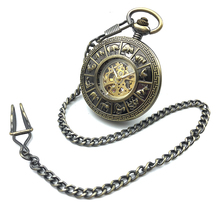 Bronze Tone Hollow Case Roman Number Dial Skeleton Steampunk Mens Automatic Self Wind Mechanical Pocket Watch Half Hunter Gift