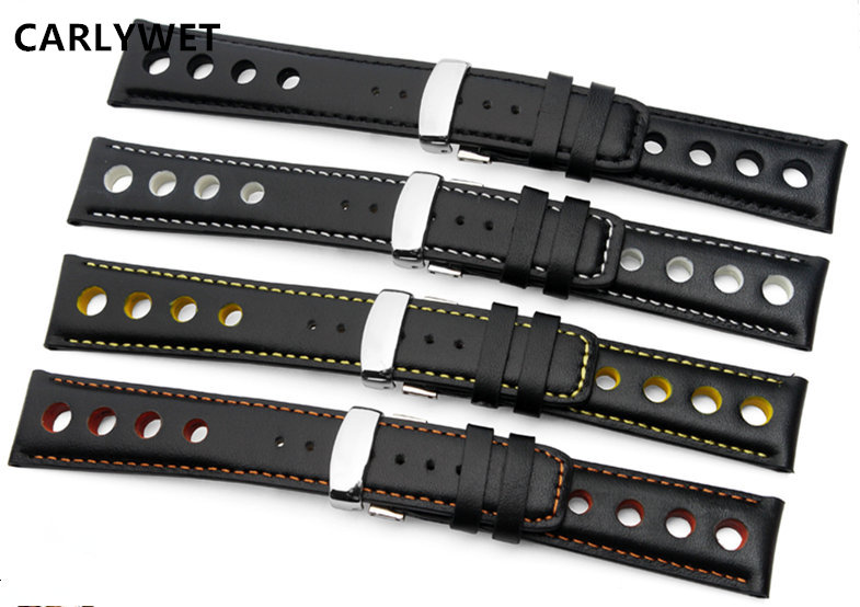 CARLYWET 20mm Real Calf Leather Handmade Black White Orange Yellow Stitches Wrist Watch Band Strap Belt Clasp For T91 PRS516