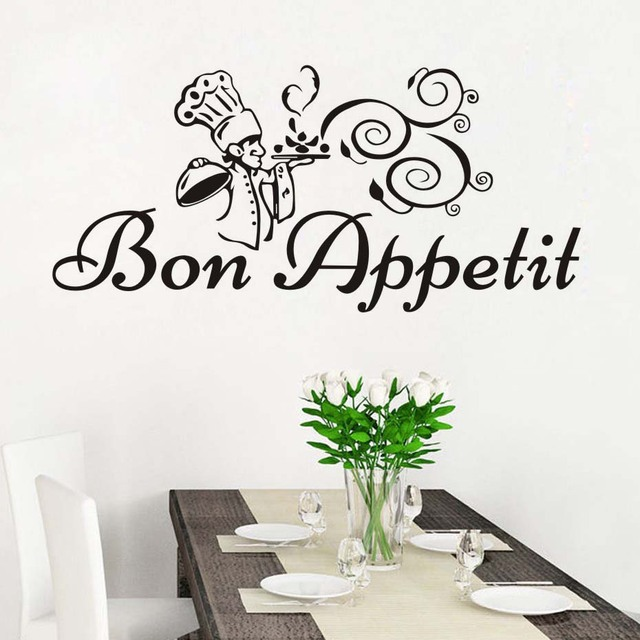 funny chef and delicious food wall sticker cuisine kitchen wall decals vinyl kitchen tile wall. Black Bedroom Furniture Sets. Home Design Ideas