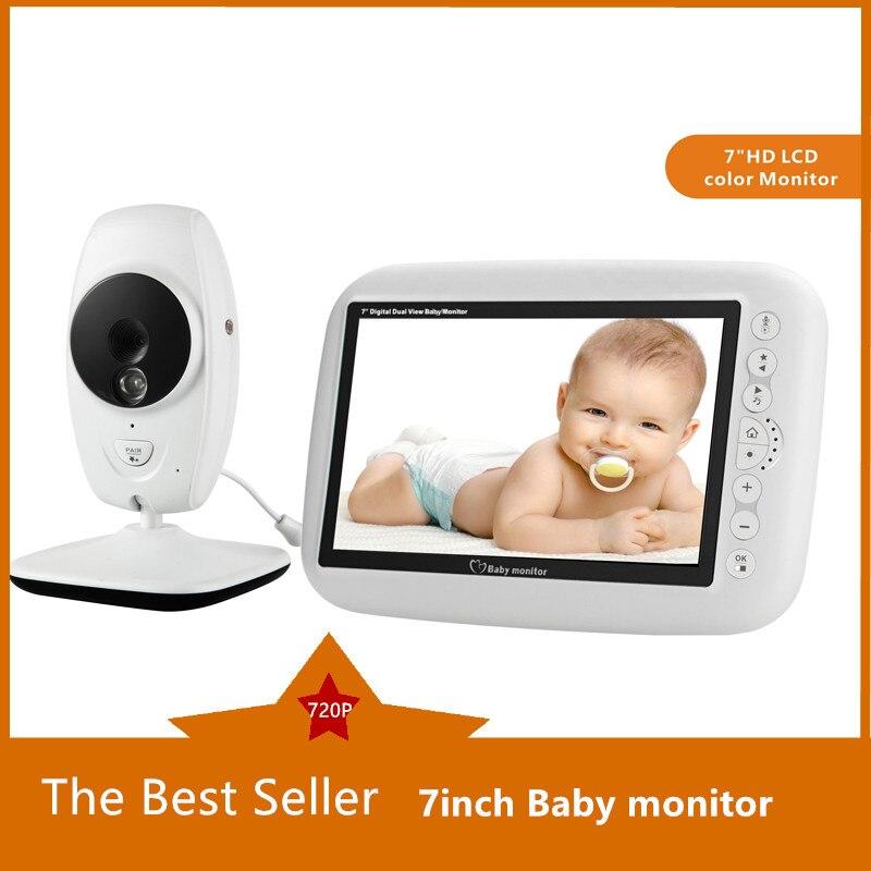 Moniteur bébé sans fil 7 pouces 720 P HD écran Vision nocturne interphone berceuse nounou vidéo moniteur bébé prend en charge la séparation d'écran