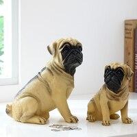 R Pug Dog Crafts Money Boxes Imitation Dog Piggy Bank Cabinet Ornaments Family Decorative Pop Art Coins Cash box Kids Gift