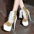 Sexy leopardo mulheres sandália de salto alto rendas sapatos Platfrom bombas 16 cm dedo aberto verão sandálias