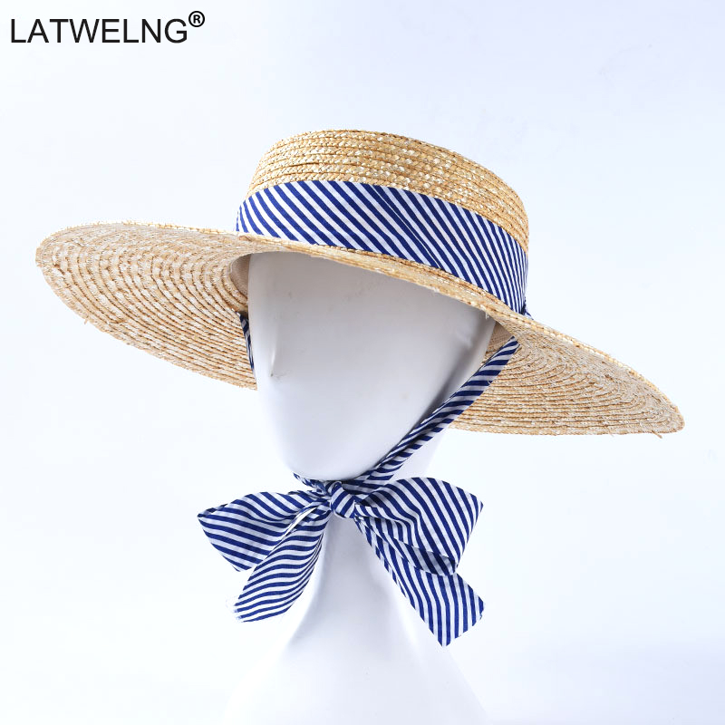2019 Fashion Ladies Summer Straw Sun Hat Original Design Striped Belt Visor Hats Women Wide Brim Beach Hat Dropshipping
