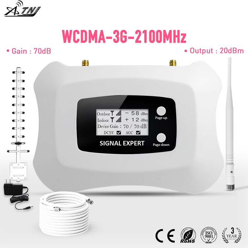 2019 Fashion Design 3G Signal Booster LCD UMTS 2100MHz Mobile Signal Repeater 3G Cell Phone Amplifier Yagi+ Whip Antenna Kit