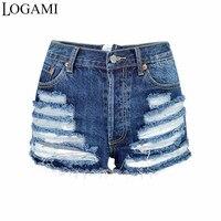 LOGAMI High Waist Zipper Back Ripped Denim Shorts Women Sexy Distressed Short Jeans Summer Shorts Fashion New