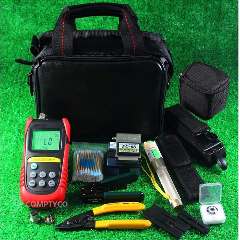 FTTH Optical Fiber Termination Tool Kits with FC 6S Fiber Cleaver and 70~+10 Optical Power Meter 10Mw Visual Fault Locator