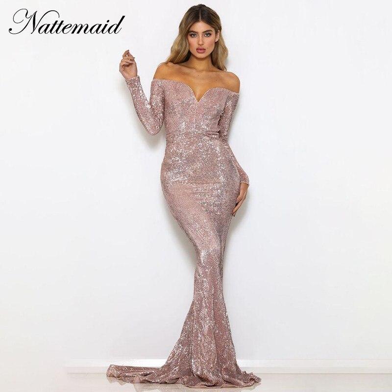 NATTEMAID Lunghezza Del Pavimento Della Sirena 2018 del Vestito Inverno Elegante  Sexy Del Partito Vestito Aderente ac7b4b1a858