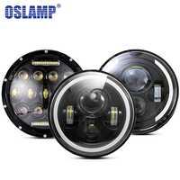 Oslamp 30W 7 pouces rond phare LED feux de croisement lumière Halo Angle yeux DRL phare pour Jeep Wrangler hors route 4x4 moto