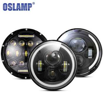 Oslamp 30W 7inch Round Led Headlight High Low Beam Light Halo Angle Eyes DRL Headlamp For Jeep Wrangler Off Road 4x4 Motorcycle - DISCOUNT ITEM  54% OFF All Category