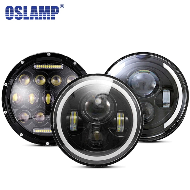 Oslamp 30W 7inch Round Led Headlight High Low Beam Light Halo Angle Eyes DRL Headlamp For Jeep Wrangler Off Road 4x4 Motorcycle
