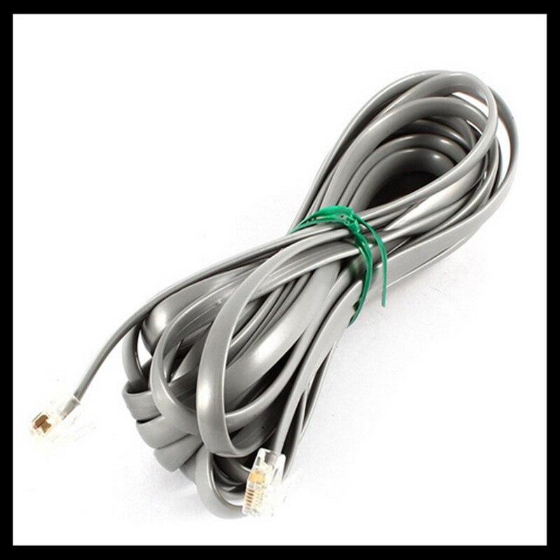 Top Deals Gray Plastic Noodles 6P6C RJ11 M/M Flat Telephone Cable Cord 5M 16ft