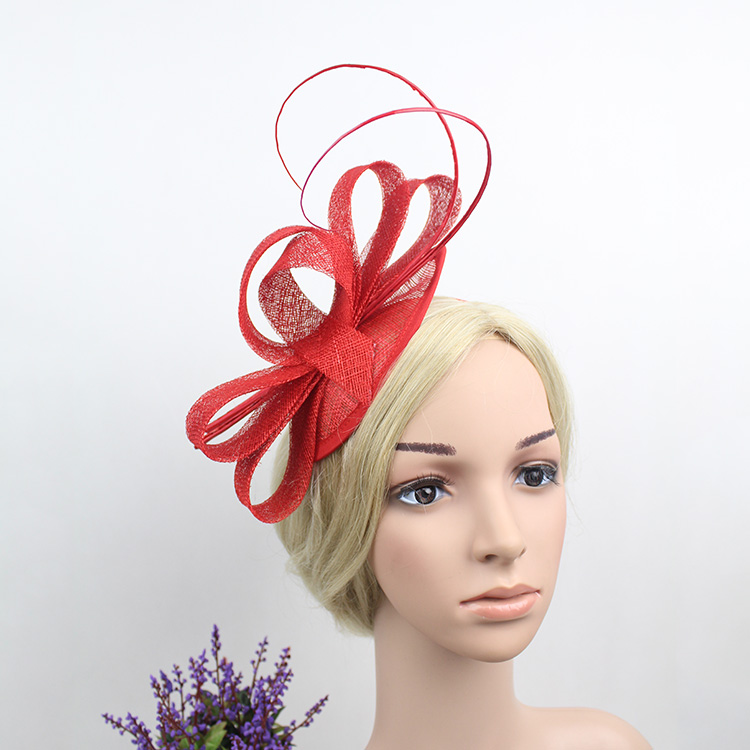 European Hotselling Women Classic Red Beige Navy Blue Mini Sinamay Hair Fascinator Headband Royal Party Feather Hairband 2016 free shipping high quality 2015 mini disc flower sinamay fascinator with feather for race