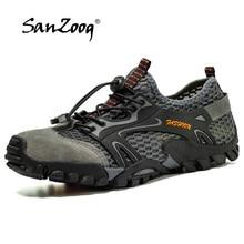 Sanzoog קיץ חיצוני נעלי הליכה גברים טרקים אנטי החלקה רוק טיפוס הרי מעקב Treking תיירות שביל בתוספת גודל גדול
