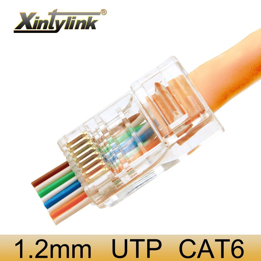 Xintylink EZ Rj45 Connector Cat6 Ethernet Cable Plug Cat5 Cat5e Rj 45 Cat 6 Network 8p8c Unshielded Perforation Utp 50/100pcs