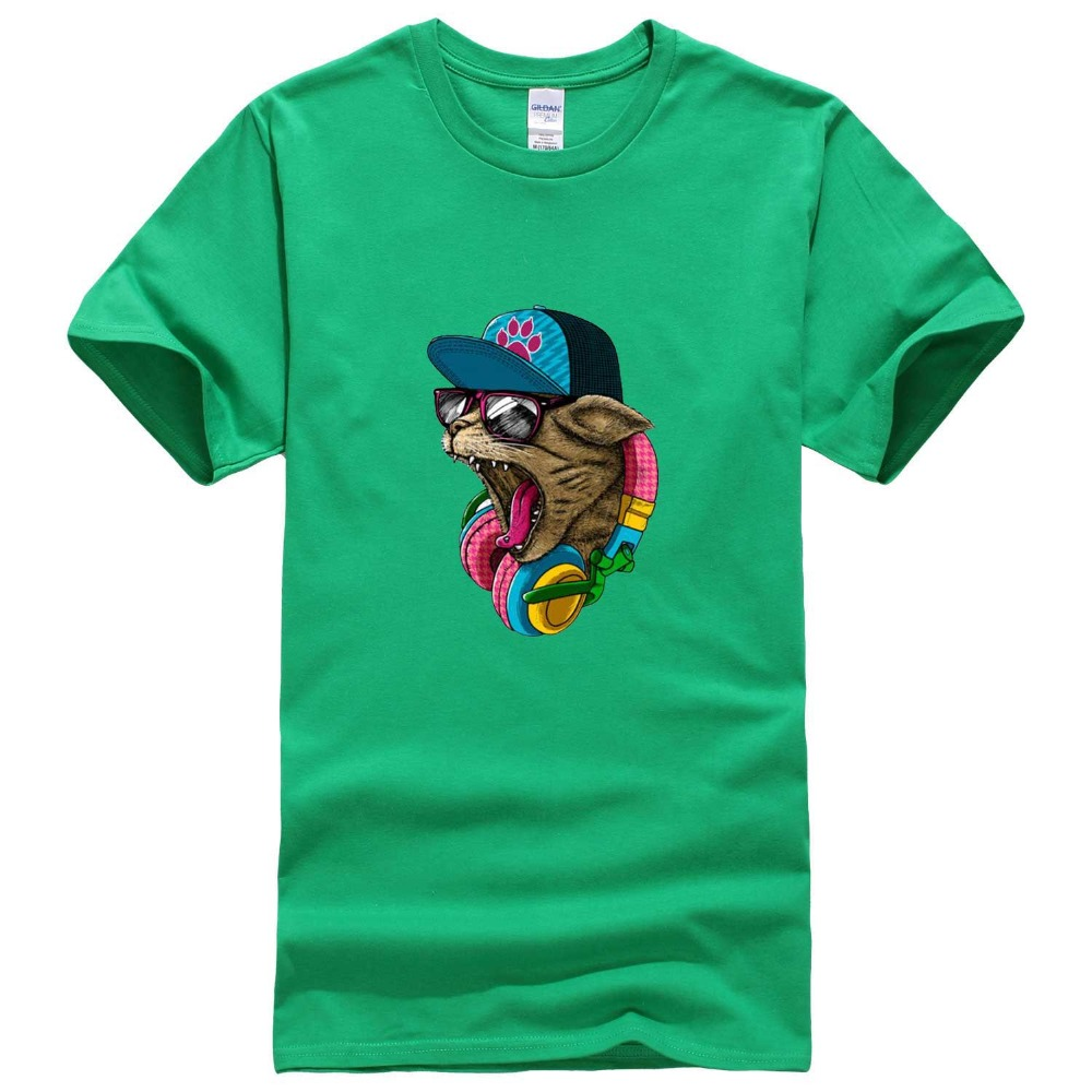 2017 new arrival men s fashion crazy dj cat design t shirt hip hop music tops