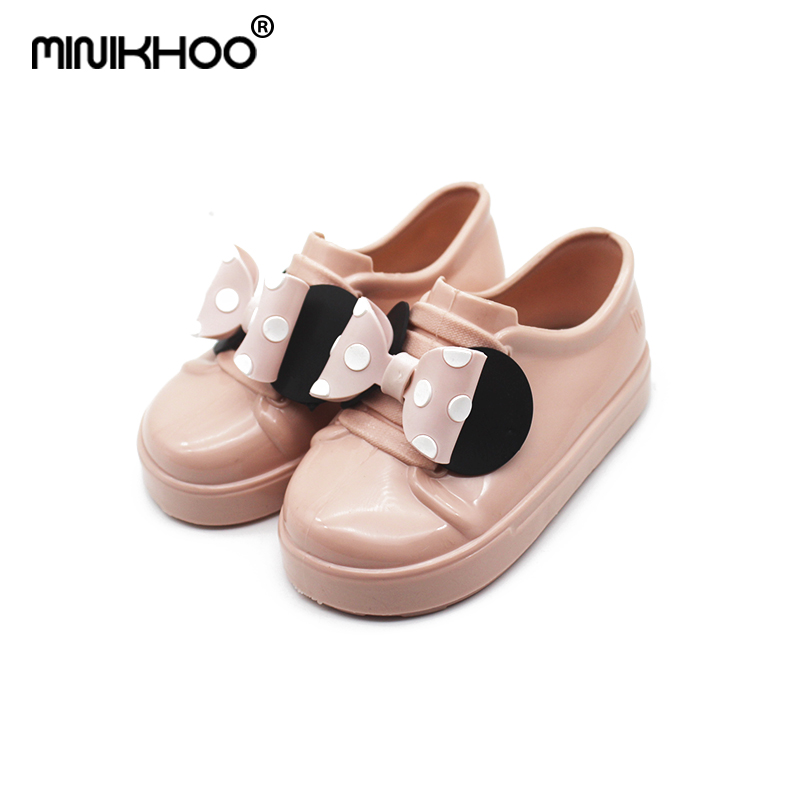 Mini Melissa Girls Mickey Bowknot Sandals 2018 New Children Melissa Jelly Sandals Soft Girl Breathable Sandals 14cm-16.5cm ...