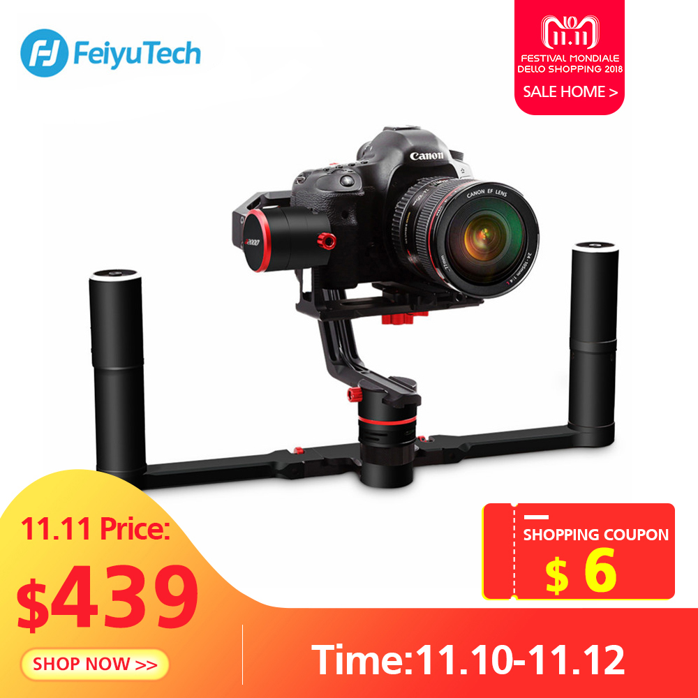 FeiyuTech A2000 3 Axis Gimbal DSLR Camera Stabilizer Dual Handheld Grip For Canon 5D SONY Nikon 2000g Payload Bluetooth With Bag feiyu a2000 3 axis gimbal steadicam dslr camera dual handheld stabilizer for grip voor canon 5d sony panasonic 2000g