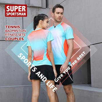 Sport męskie Fitness T-shirt szorty do biegania stroje do biegania strój na siłownię damski zestawy odzieżowe Badminton stół trening tenis odzież sportowa tanie i dobre opinie Poliester Krótki 20190705 Anty-pilling Przeciwzmarszczkowy Oddychające Szybkie suche Koszule Pasuje prawda na wymiar weź swój normalny rozmiar