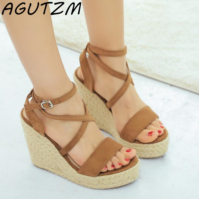 AGUTZM Natural Suede Leather Sandals Women High Heels Open Toe Fashion Ladies Shoes Ankle Strap Platform Wedge Sandalias Mujer