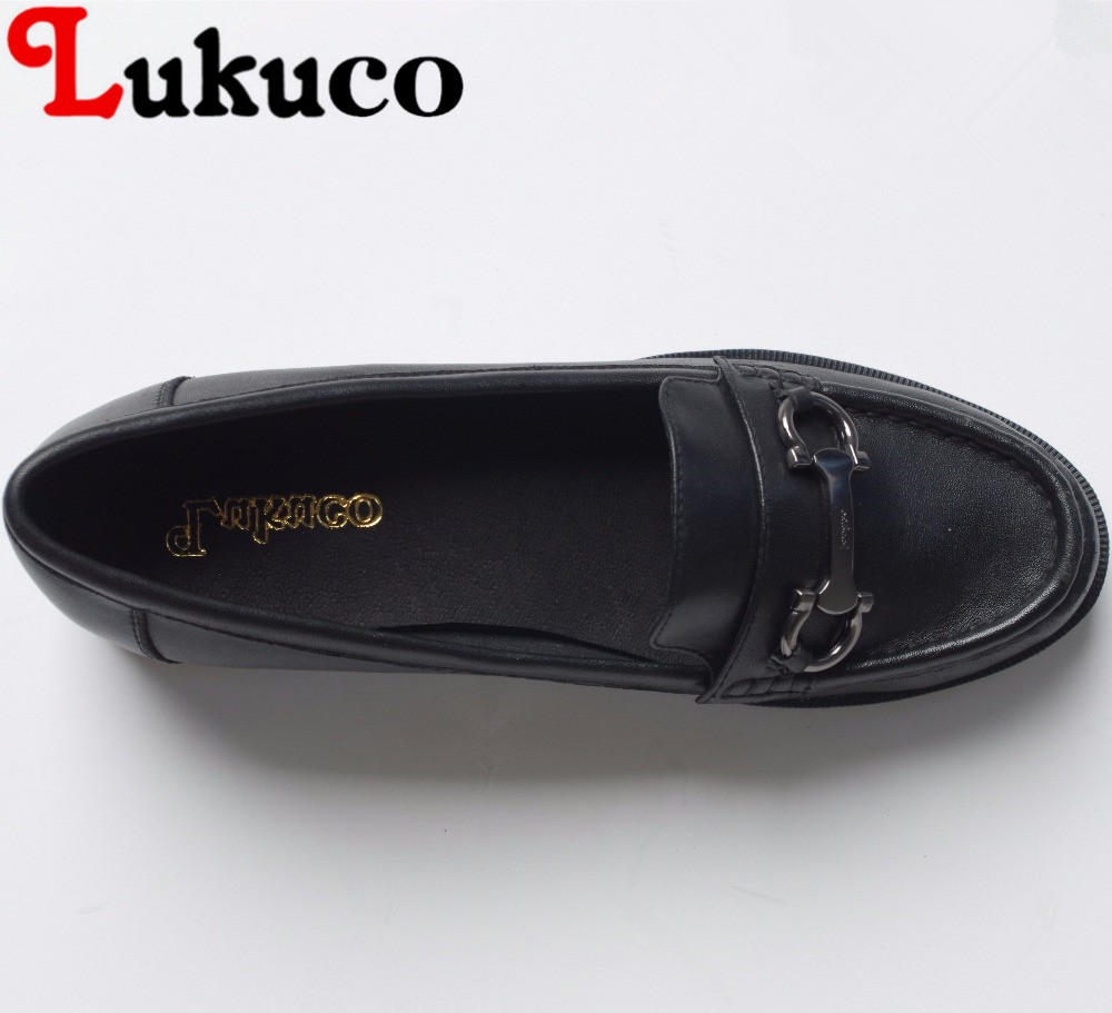 Lukuco mixed color round toe women loafers flats metal decoration microfiber made slip-on shoes with pigskin inside lukuco pure color women mid calf motorcycle boots microfiber made buckle and zip design shoe with pigskin inside