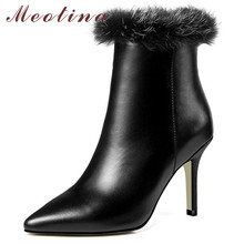Meotina Winter Ankle Boots Women Natural Genuine Leather Zip Thin Heel Short Boots Fur Super High Heel Shoes Ladies Autumn 34-39 цены онлайн
