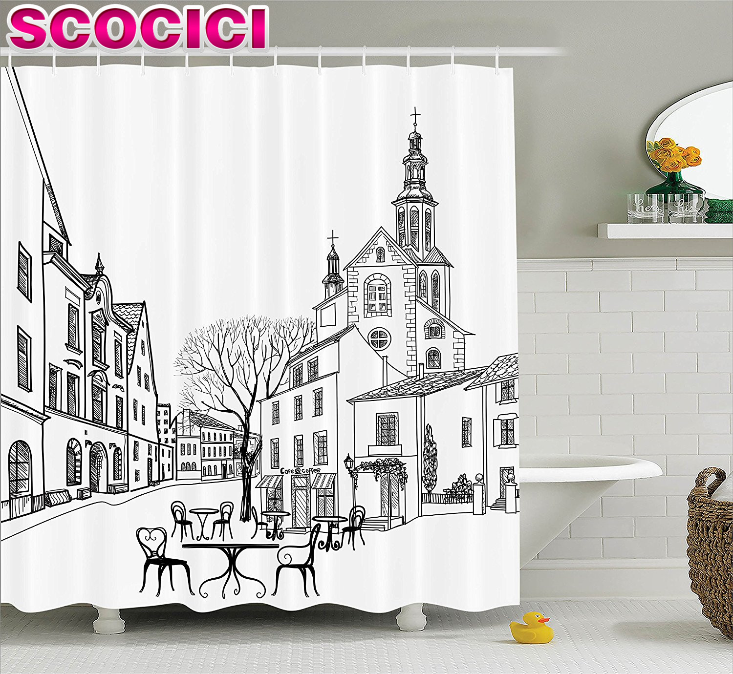 Cafe curtains for bathroom - Wanderlust Decor Shower Curtain Set Street Cafe In Old City Houses Buildings Tree On Alleyway Medieval Castle Landscape Bathroom
