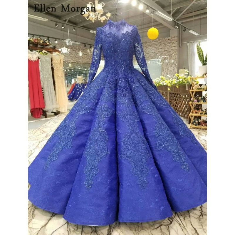 Blue Wedding Dresses 2019: Royal Blue Long Sleeves Wedding Dresses 2019 Lace Pearls