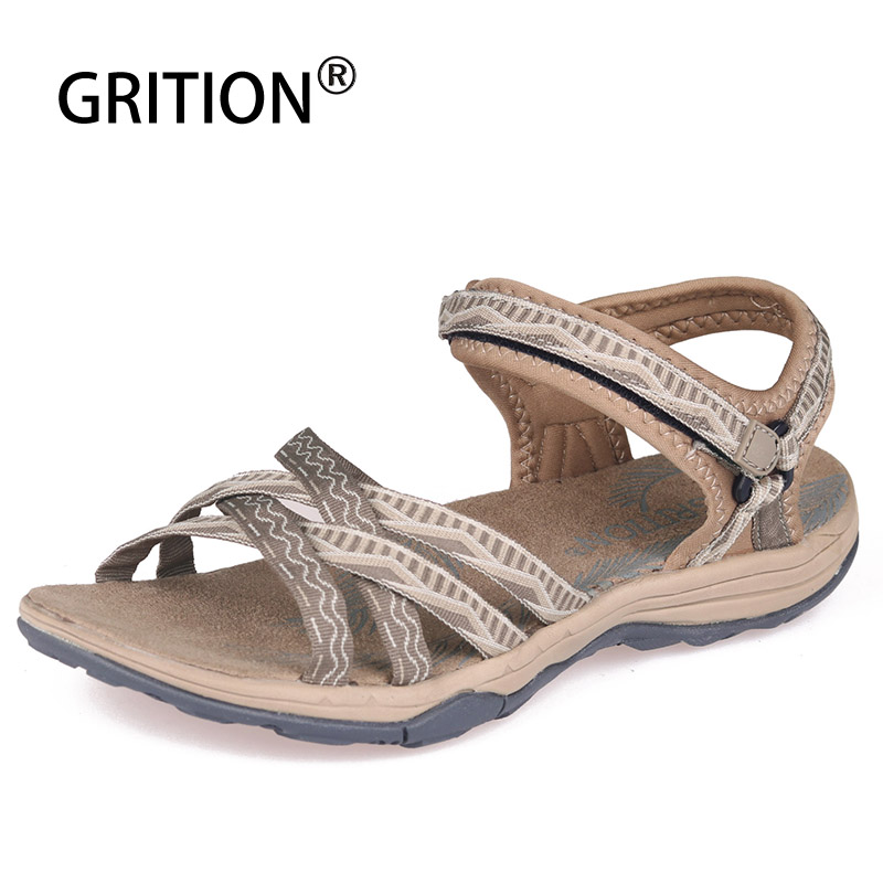 GRITION 2020 Women Outdoor Sandals Summer Beach Slip-on Flat Casual Water Shoes Ladies Comfortable Breathable Fashion Flip Flops
