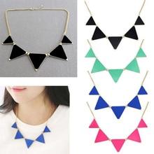 4 colorea la señora colgante encanto esmalte geométrica del triángulo suéteres collar joyeria